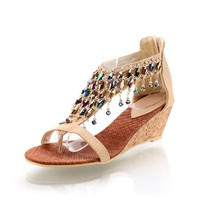 New Summer Fashion Handmade Beaded Womens Wedge Heels Thong Sandals Shoes