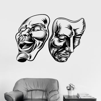 Vinyl Wall Decal Theatrical Masks Theatre Comedy Tragedy Stickers Unique Gift (ig4150)