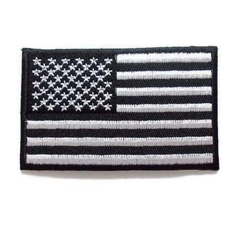 American Flag Black White Two Tone - Flag of America U.S.A United State Of America New Iron On Patch Embroidered Applique Size 7.9cm.x4.9cm.