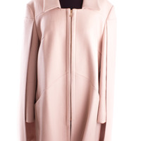 Rose Wool Coat With Cape Detail