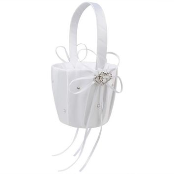 """Wedding Flower Girl Basket with Heart and Bowknot (8 Colors) - 8.3"""" x 4.9"""""""