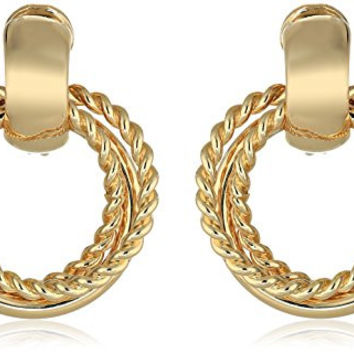 Napier Urban Links Gold-Tone Hoop Frontal Clip-On Earrings