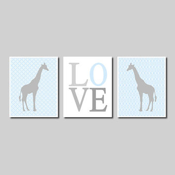 Kids Wall Art GIRAFFE Theme Nursery Blue Gray Safari Jungle Love Set of 3 Prints Baby Boy Girl Kids Play Room Decor Picture Artwork Bedding