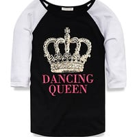 FOREVER 21 GIRLS Dancing Queen Baseball Tee (Kids) Black/Gold Small