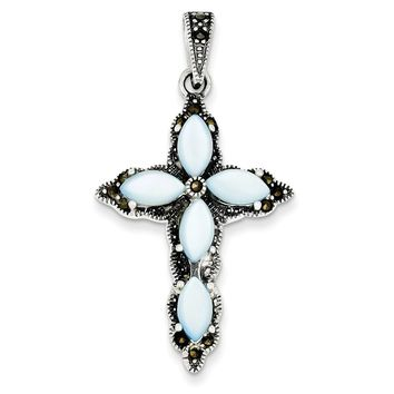Sterling Silver Marcasite, Blue Mother of Pearl Cross Pendant