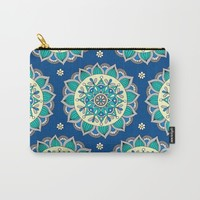 Blue & Cream Mandala  Carry-All Pouch by Sarah Oelerich