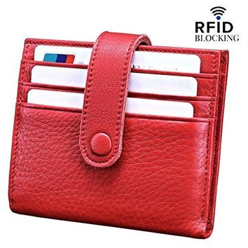 Reeple Womens RFID Blocking Small Compact Bifold Leather Pocket Wallet with ID Window