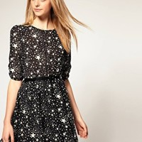 ASOS | ASOS Belted Dress with Star Print at ASOS