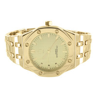 Mens AP Style Watch Presidential 14k Yellow Gold Finish Metal Band