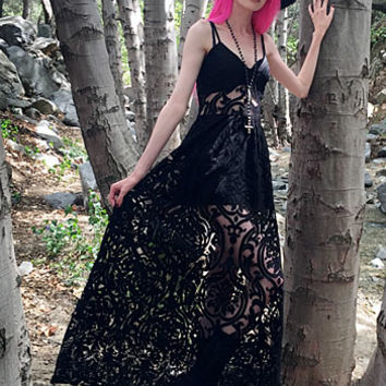 Necromance in Noir Lace Maxi Dress