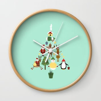 Christmas tree with reindeer, Santa Claus and bear Wall Clock by Graf Illustration