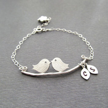 Engagement Gifts - Love Birds Bracelet Sterling Personalized Anniversary Gifts, Bridesmaids Gift, Bridal Shower Gifts