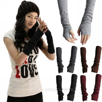 Women Knitted Wrist Arm Long Fingerless Mitten Winter Gloves Unisex Soft Warm = 1946259780
