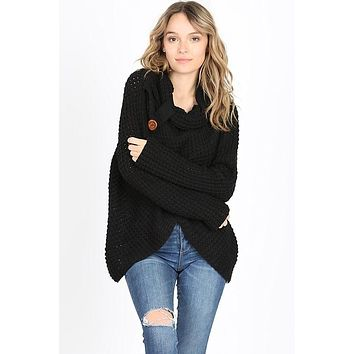 Cool Night Criss Cross Sweater -  Black