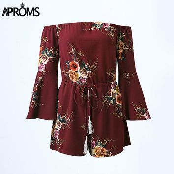 Aproms Elegant Off Shoulder Boho Floral Print Jumpsuit Women Summer Flare Sleeve Sexy Party Playsuits Rompers 90s Girls Overalls
