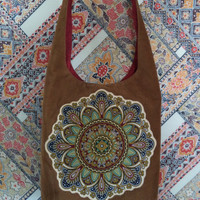 Brown corduroy sling bag/ Handmade Earth Mandala Bohemian Bag by Boho Rain/ African print mandala/ hippie boho crossbody bag