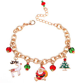 New Christmas gift charm bracelet pulseras mujer bracelet jewelry Santa Claus Christmas tree paracord  bracelets for women