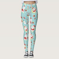 Happy Santa And Frosty And Chihuahua Leggings