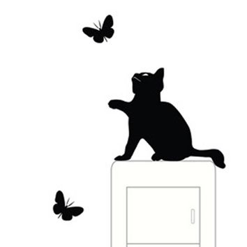 HOT! Cute Cat switch stickers wall stickers home decoration Room Window Wall Decorating Vinyl Decal Sticker Decor Cartoon NOV24