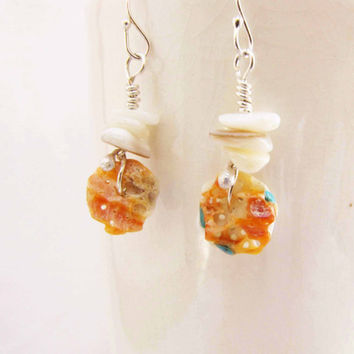 Spiny Oyster Shell Dangle Earrings Sterling silver Earrings Turquoise