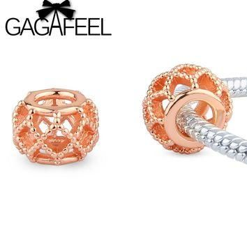 New Fashion Rose Gold Color Hollow Charms Beads fit Pandora European Bracelets Necklac