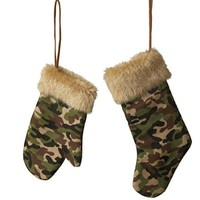 Camo Stocking and Mitten Christmas Ornament