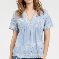 Dusty Blue Lace Trimmed Baby Doll Top