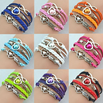 2014 hot sale new fashion Infinity Love Heart Pearl Friendship Antique Silver Leather Charm Bracelet Jewelry Gift = 1932283652