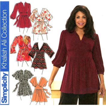 Plus Size Tunics Pattern Uncut Bust 48 - 54 Simplicity 3697 Khaliah Ali, Empire Waist Tunics, Kimono Sleeve Tunics, Womens Sewing Patterns