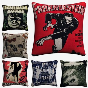 Vintage Horror Throw Pillow Covers