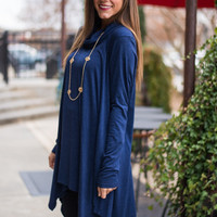 Never Too Late Tunic, Blue