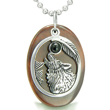 Amulet Courage Howling Wolf Moon Red Tiger Eye and Simulated Black Onyx Pendant 22 Inch Necklace