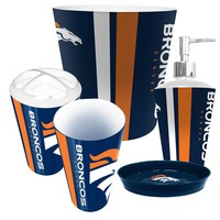 Denver Broncos NFL Complete Bathroom Accessories 5pc Set