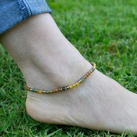 Jasper and Yellow Jade Anklet