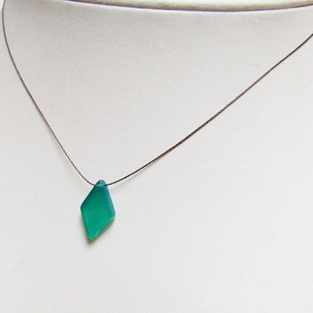 Green Onyx Necklace, Emerald Green Onyx Slice, Smooth Diamond Geometric Jewelry, Minimalist Necklace On Cord Argentium Sterling Silver Clasp