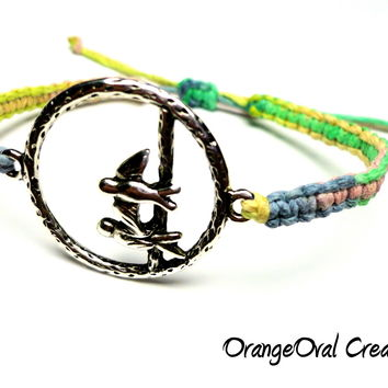 Adjustable Hemp Bracelet, Birds on a Branch, Yellow Green Pink and Blue Macrame Hemp Jewelry