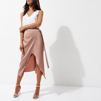 Beige wrap tie waist midi skrit - Skirts - Sale - women