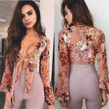 DCCK8H2 Tiffany Floral Bell Sleeve Top - Fashion Women Ladies Summer Long Sleeve Shirt Loose Casual Blouse Tops T-Shirt