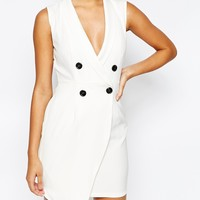 Naanaa Sleeveless Tuxedo Dress With Asymmetric Skirt