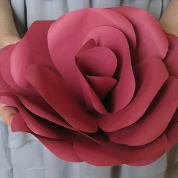 Giant Maroon Paper Rose,Spring  Summer Wedding Decor, Handmade Unique Gift, Big Paper Flower, Extra Large Paper Rose