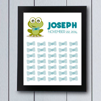 Guest Book Baby Shower birthday guestbook signature bow tie frog / printable pdf / its a boy Babyshower ideas children first keepsake little