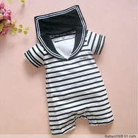 Navy Black Stripes Baby Boy Grow Short Sleeved Bodysuit Romper Onesuit Jumpsuit