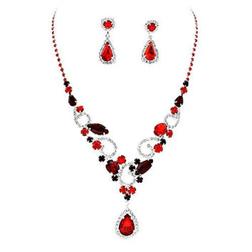 Lovely Red Teardrop Statement Rhinestone Necklace Set Bridal Bridesmaid Prom SilverTone