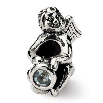 Sterling Silver March CZ Birthstone, Angel Bead Charm