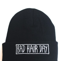 Bad Hair Day Black Beanie