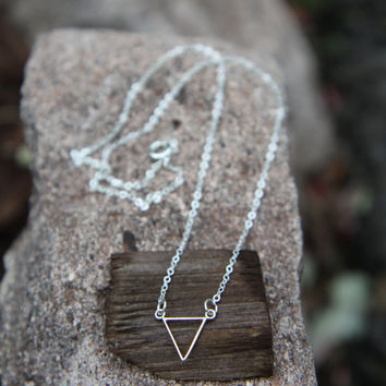 Triangle Necklace, Silver Triangle Necklace, Chevron Necklace, Minimalist Necklace, Modern Necklace, Sterling Silver, V Necklace, Geometric,