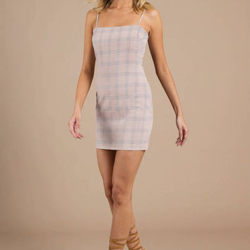 With Time Plaid Bodycon Dress