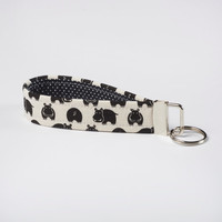 Hippo Keychain, Fabric Key Fob, Wristlet Strap - Black and White