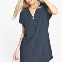 Freyja Lace Up Woven Crepe Dress
