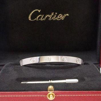 CHEN1ER CARTIER 18k White Gold Love Bangle Bracelet Size 16 Box Certificate and Screw